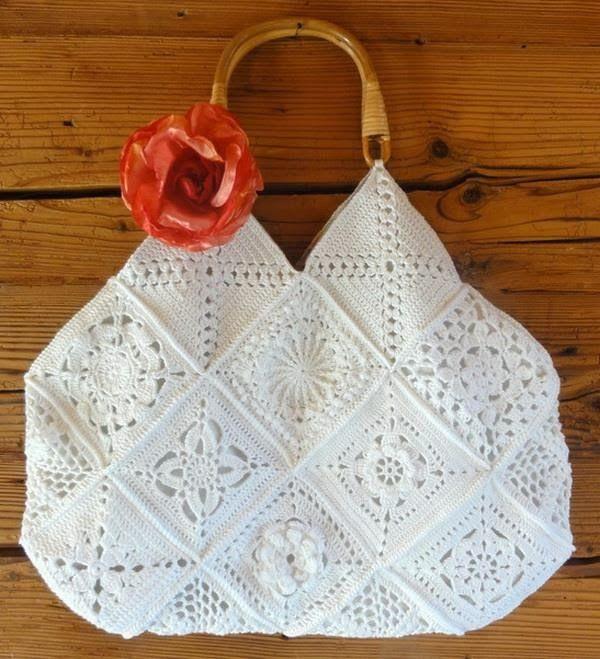 Granny Squares to bag with wood handles. Stylish Easy Crochet: Crochet Handbag Pattern - Square Crochet Motif
