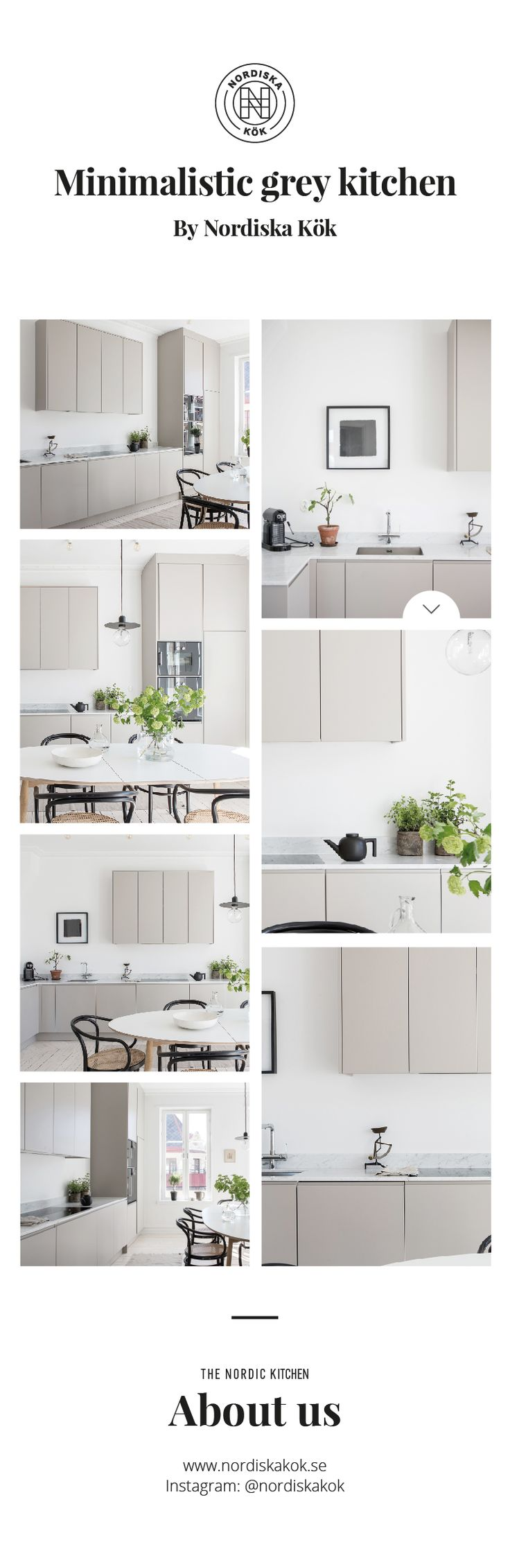 Minimalistic grey kitchen by Nordiska Kök. Clean and elegant kitchen ideal for high ceilings where form and function go hand in hand. The soft greige tones set off the marble worktop. For more kitchen inspiration visit www.nordiskakok.se #kitchen #bespokekitchen #interior #architect #grey #white #framekitchen #minimalism #minimalistic #wood #kitchendesign #kitchenideas #greykitchen #design #designtrends #beautifulkitchens