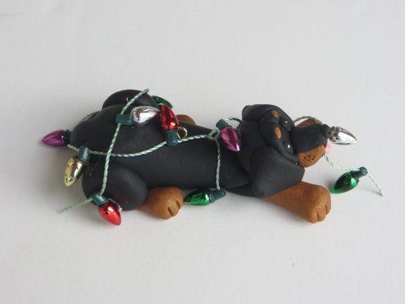 Bassotto cane natale ornamento polimero di HeartOfClayGirl su Etsy