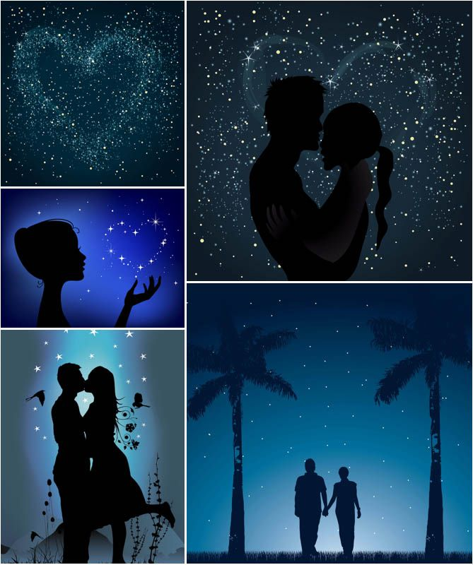 Loving couple silhouettes vector