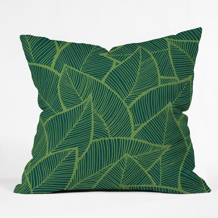 Arcturus Lime Green Leaves Outdoor Throw Pillow | DENY Designs Home Accessories