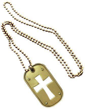 Christian Christ Religion Jesus Cross CUT OUT Brass Logo Symbols - All Metal Military Dog Tag Luggage Tag Key Chain Metal Chain Necklace