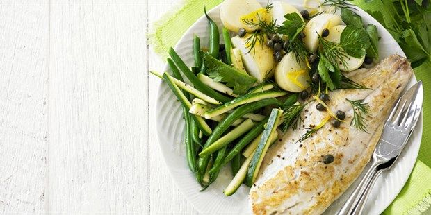 Grilled Fish with Warm Lemon and Herb Potato Salad