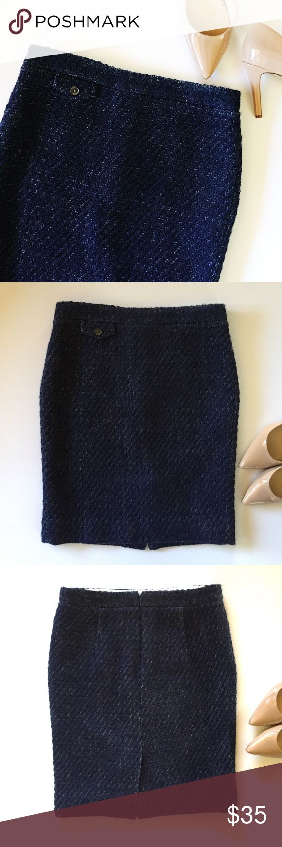 """J. Crew No. 2 navy pencil skirt in textured tweed Gorgeous pencil skirt by J. Crew factory in a navy blue tweed. Back zip, lined. Measures 15"""" across waist and 21"""" long. Great pre-owned condition! Dry clean. J. Crew Skirts Pencil"""