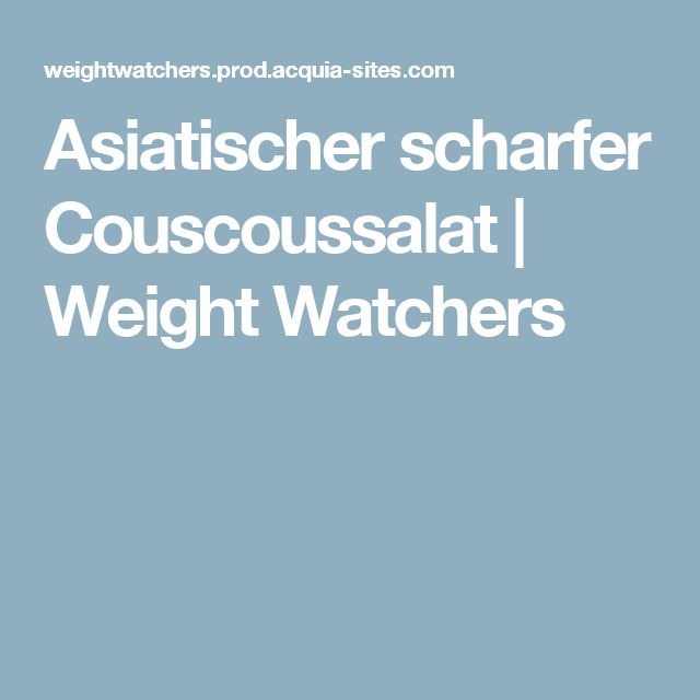 Asiatischer scharfer Couscoussalat | Weight Watchers