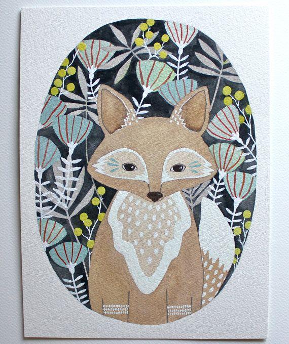 Fox Illustration Painting - Watercolor Art - 11x14 Large Archival Print - Little Fox Leo by Marisa Redondo