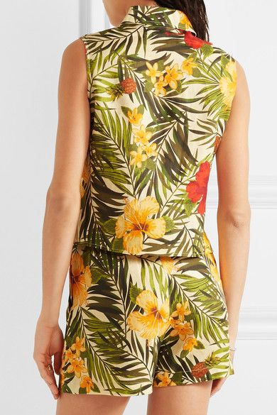 Miguelina - Nelline Printed Linen Top - Army green -