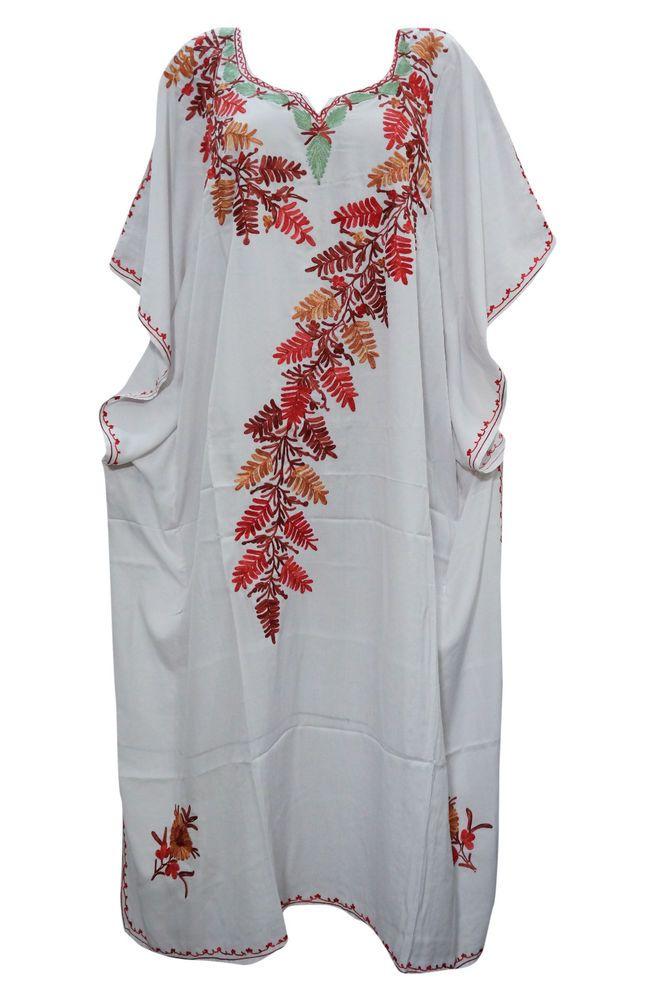 MUUMUU DRESS WHITE KASHMIRI EMBROIDERED KAFTAN MOROCCAN SILK CAFTAN RESORTWEAR #mogulinterior #CaftanNighty #SummerBeach