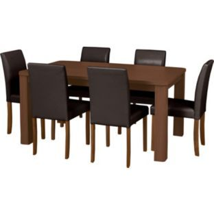 Buy swanley walnut table 6 chocolate leather effect chairs at your online shop Walnut effect living room furniture