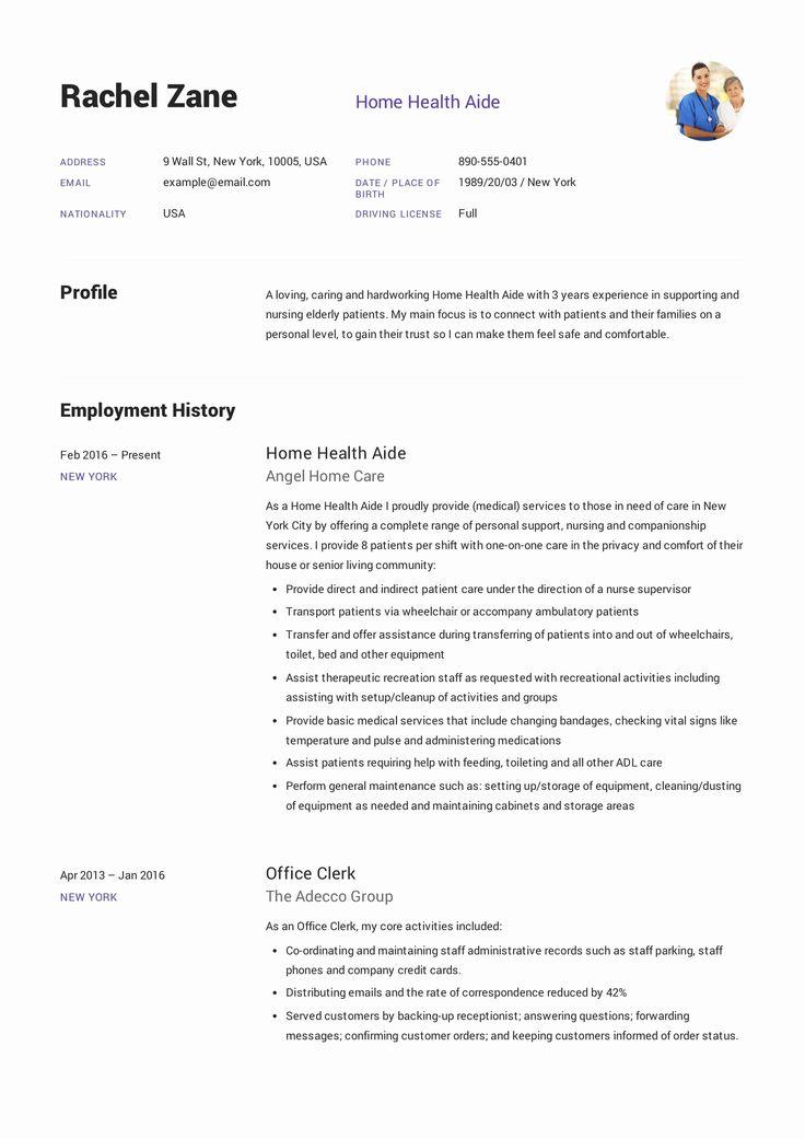 Home health aide job description resume inspirational home
