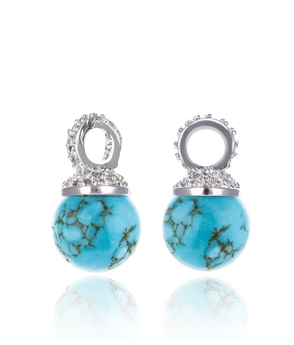 EARRING CHARM KAGI TURQUOISE DROPS MEDIUM SMOOTH RECONSTITUTED AND CLEAR CUBIC ZIRCONIA CRYSTALS HAND-SET ONTO RHODIUM PLATED BASE METAL 1 - Jons Family Jewellers