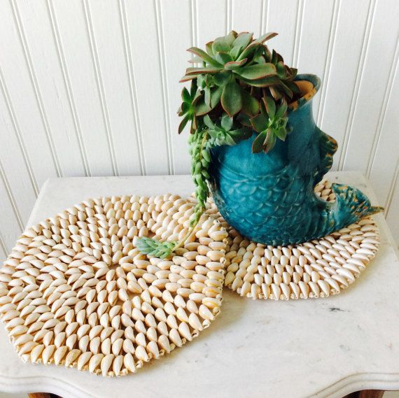 Vintage Set of Two Large Seashell Trivets, Seashell Art, Coastal, Nautical, Cottage, Beach, Tropical Decor
