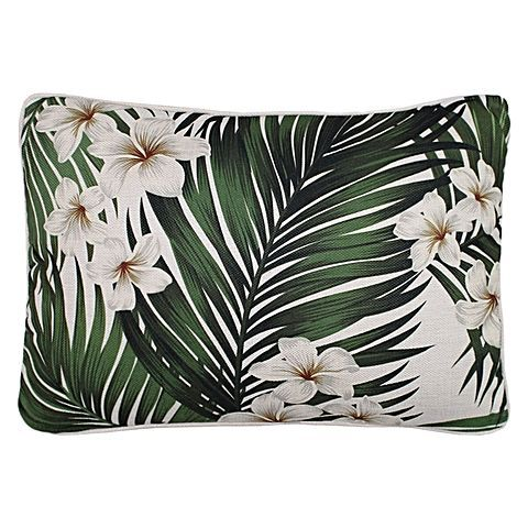 Delight in the feminine styling made exotic in the cotton Sanctuary Frangipani Outdoor Cushion from Escape to Paradise.