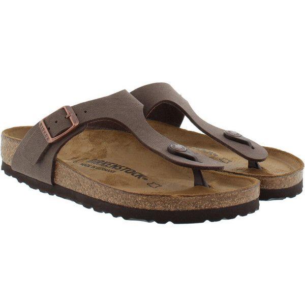 Birkenstock Sandals - Gizeh BS Nubuk Regular Fit Sandal Mocca - in... ($71) ❤ liked on Polyvore featuring shoes, sandals, brown, brown flat sandals, brown flat shoes, flat shoes, brown buckle shoes and birkenstock sandals