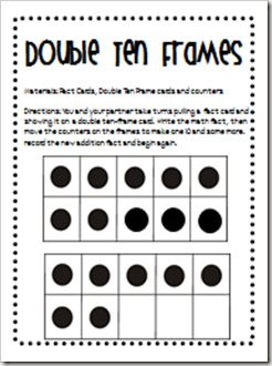 activityworksheet taking turns with a partner have the students pull a fact card and show it on a double ten frame with the counters
