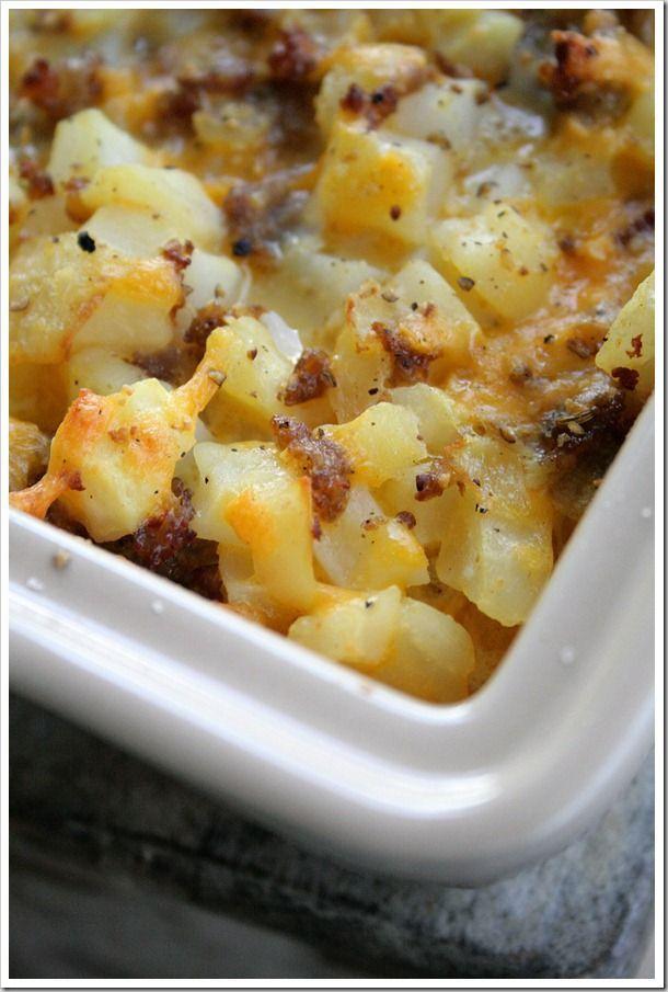 Cheesy Potato Breakfast Casserole | DoughMessTic.com