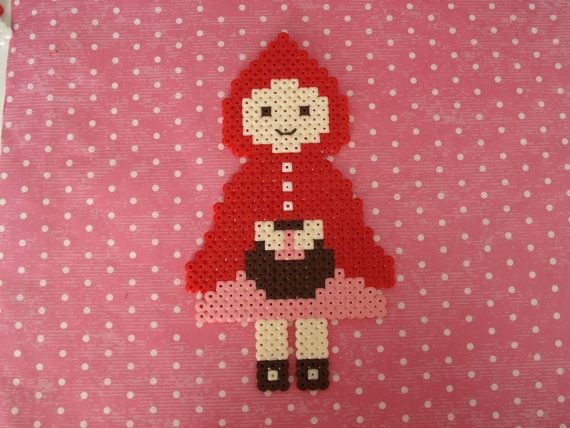 Little Red Riding Hood. Hama perler bead decor art. Fairytale decoration. etsy