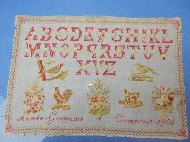 An Early 20th Century FRENCH Sampler Stitched By Germaine Comperat & Dated 1905