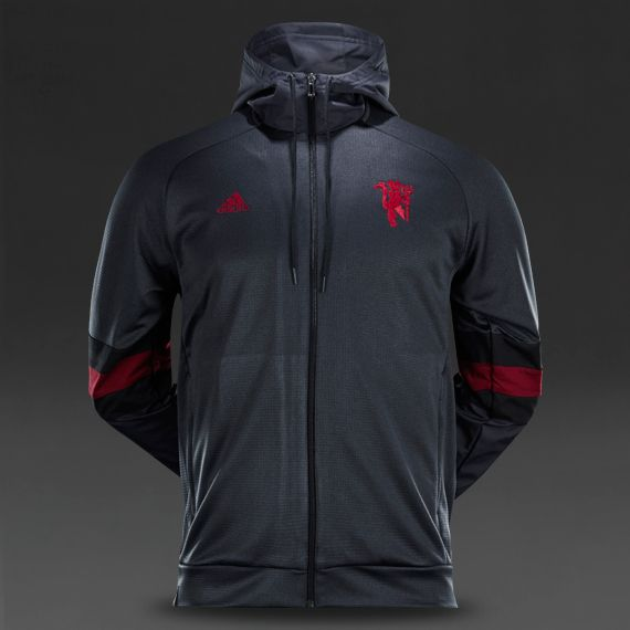 adidas Manchester United 15/16 Seasonal Favourite Hooded Zip - Night Grey
