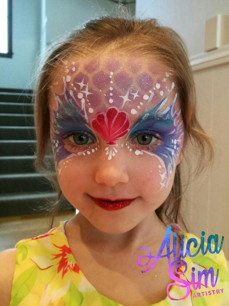 Mermaid Face Painting kids birthday party AliciaSimArtistry.com