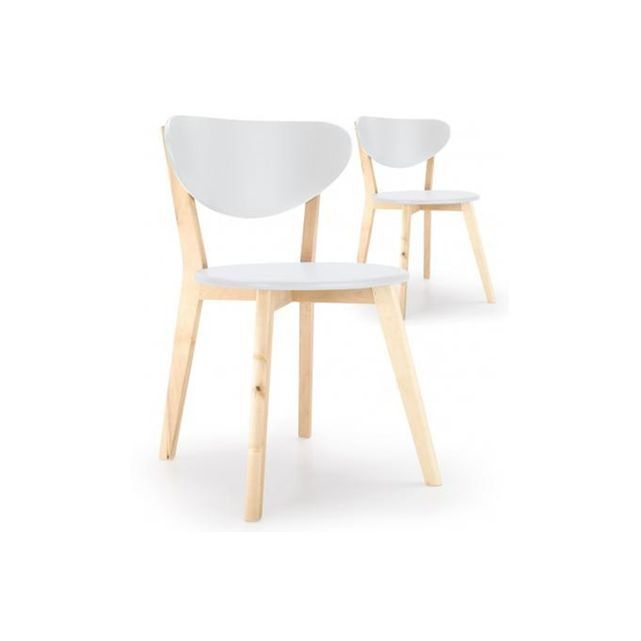 Lot de 2 chaises scandinaves blanche kenny blanc Declikdeco