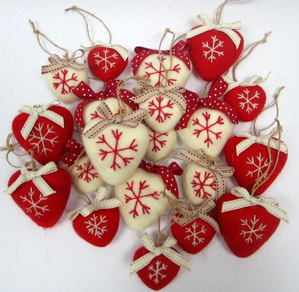 Red & natural needlefelt wool hearts