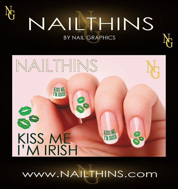 KISS ME I'M IRISH St Patrick Day Nail Art  nail by NailGraphics, $3.25