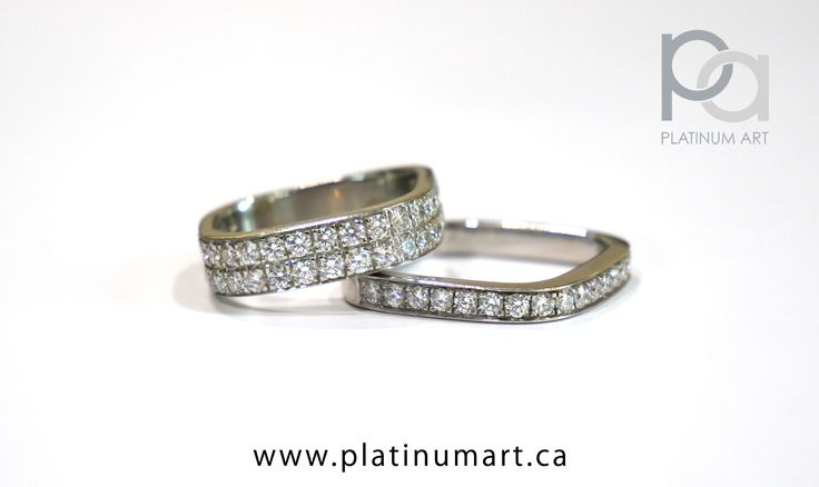 A beautiful Eternity ring with a Pave ring underneath. Combine two rings to create a more cohesive look to your wardrobe. Find your pair today.  844-787-7348 www.platinumart.ca/contact-us