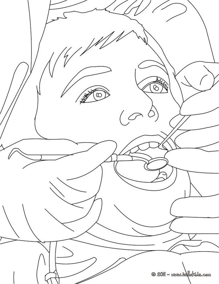 Dentist treating kid's teeth coloring page. Amazing way for kids to discover job. More original content on hellokids.com