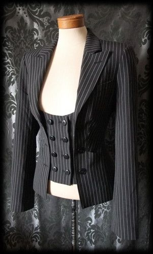 Black Pinstripe VICTORIAN STEAMPUNK Fitted Waistcoat Style Jacket 8 10 Gothic - £42.00