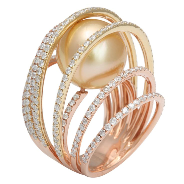 Golden South Sea C.P. Cage ring    18k rose gold and 18k yellow gold strand centering a golden south sea cultured pearl 13.5mm 237 diamonds 2.71 carats
