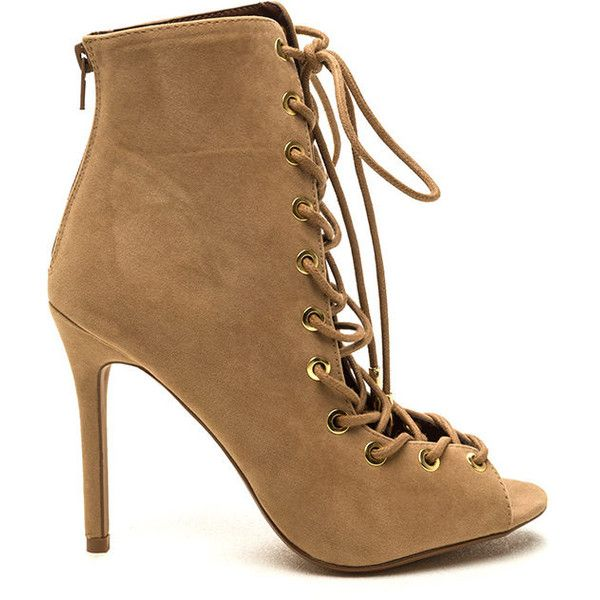 Velvet Complex Lace-Up Booties CAMEL ($25) ❤ liked on Polyvore featuring shoes, boots, ankle booties, heels, tan, heeled booties, lace up high heel boots, lace up heel boots, peep toe booties and tan booties