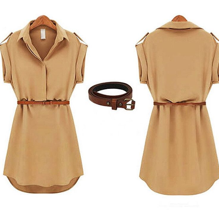 Womens dress summer 2016 Short A-Line solid Plus Size chiffon casual dresses with belt for Party Beach Office summer style