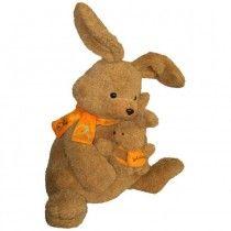 Een bruin, vrolijk konijn met het kleine konijntje in haar handen. Om haar hals draagt ze een oranje sjaal met wortel motief, het konijntje draagt een kleine oranje rugzak.