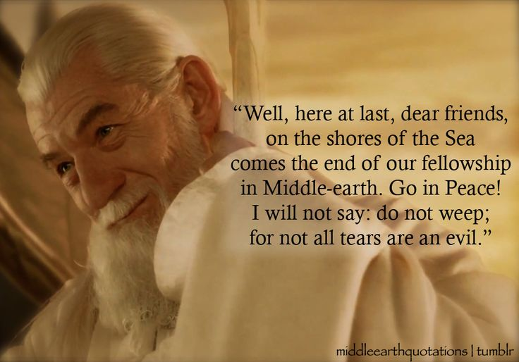 -  Gandalf to Sam, Merry and Pippin, The Return of the King, Book VI, The Grey Havens