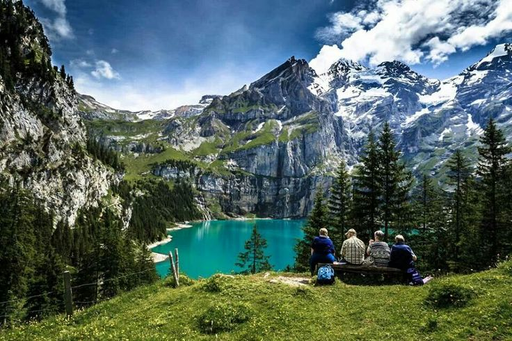 Swiss Alps. - Oeschinen Lake is a lake in the Bernese Oberland, Switzerland, 4 kilometres east of Kandersteg in the Oeschinen valley. At an elevation of 1,578 metres, it has a surface area of 1.1147 square kilometres. Its maximum depth is 56 metres