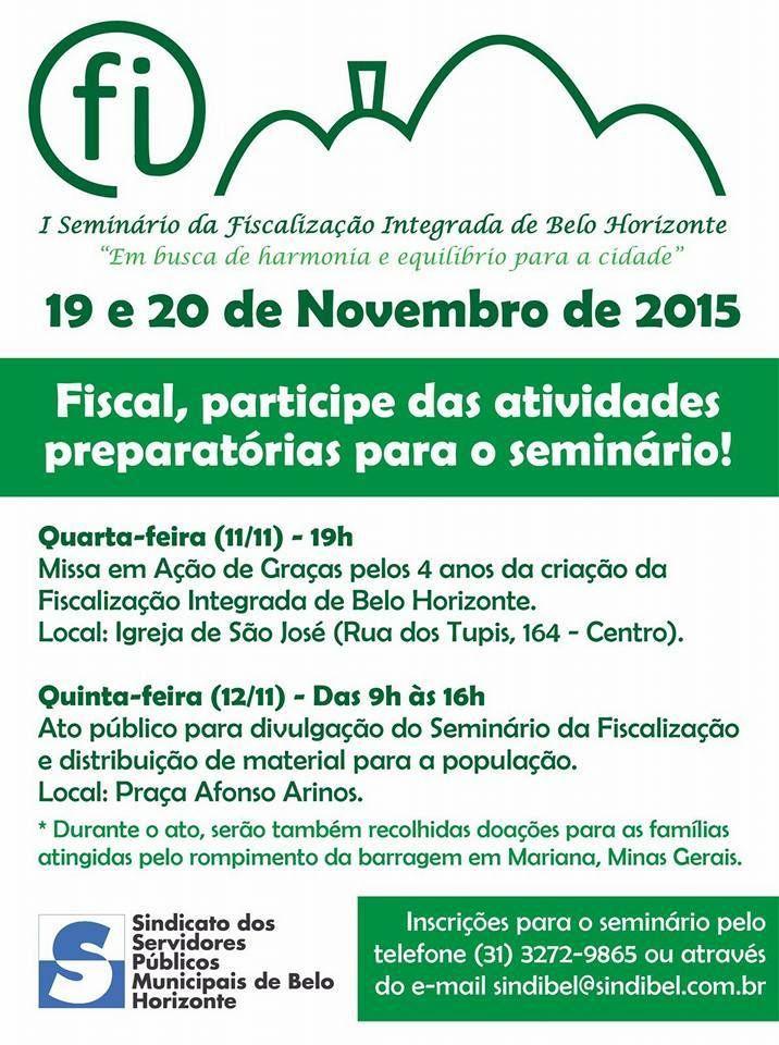11/11/2015 - I Seminário da Fiscalização Integrada de Belo Horizonte: