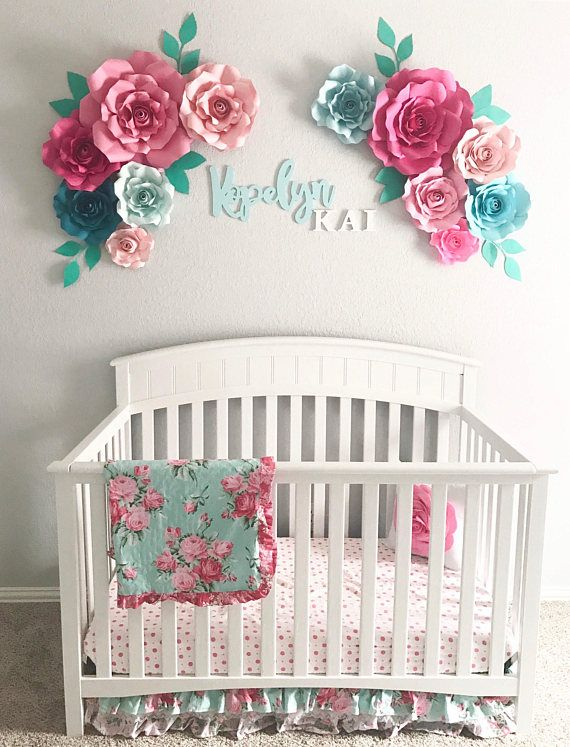 Paper Wall Flowers For Your Baby Girls Nursery Would Also Be A Great Decor For Weddings And Events C Baby Girl Room Floral Nursery Paper Flowers