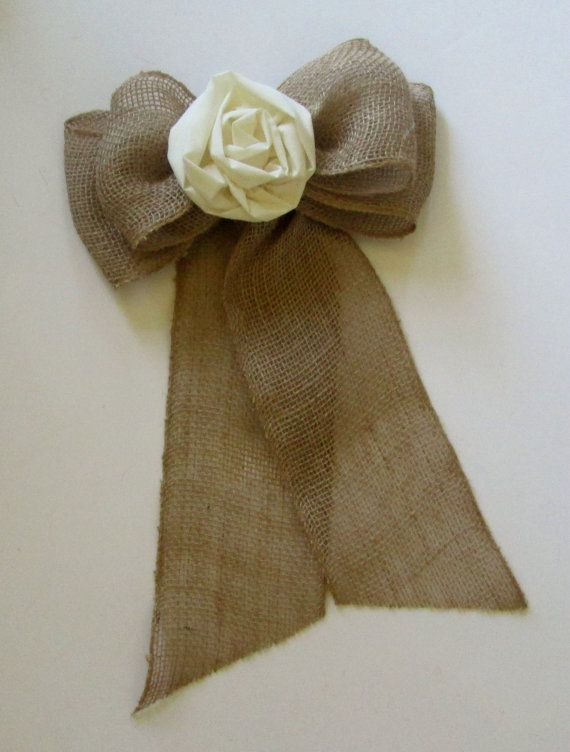 Burlap Pew Bows with Fabric Flowers A Set of 2 by shannonkristina