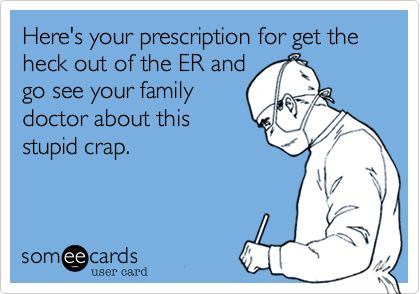 Is it really an EMERGENCY? The ER doctor is not your primary care physician (PCP)!!