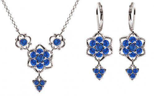 Lucia Costin Jewelry Set Necklace and Earrings Designed with Twisted Lines and Blue Swarovski Crystals Crafted with 6 Petal Middle Flowers and Fancy Charms 925 Sterling Silver ** Continue to the product at the image link.(This is an Amazon affiliate link and I receive a commission for the sales)