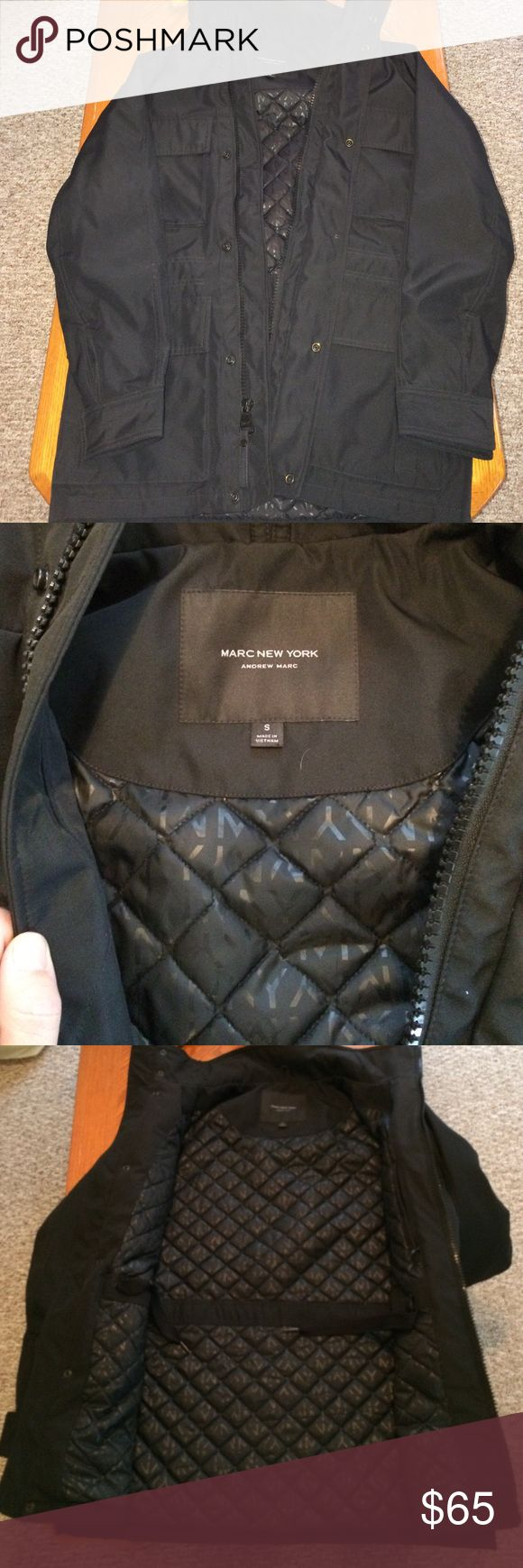 NWOT Small MarcNY Andrew Marc 4 pocket black Jckt Never worn was too small. I bought it because it was sooo nice and it's completely new!! Pure black color and sharp jacket. I'm 6'3 and put it on in my house to wear it out and always wanted to but I just have to be honest and let it go. Perfect NWOT!! Marc New York- Andrew Marc- Size Small Andrew Marc Jackets & Coats