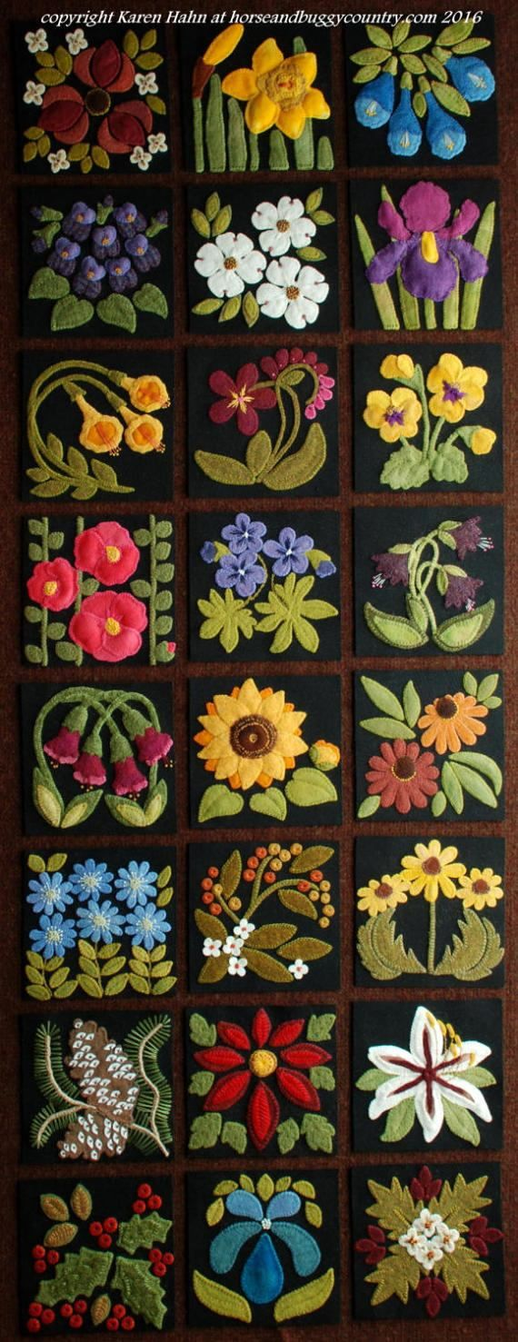 """Wool applique BOM patterns &/or KITS for ALL 24 6x6 inch blocks for """"Four Seasons of Flowers"""" wool quilt wall hanging table runner bed rug by HorseAndBuggyCountry"""