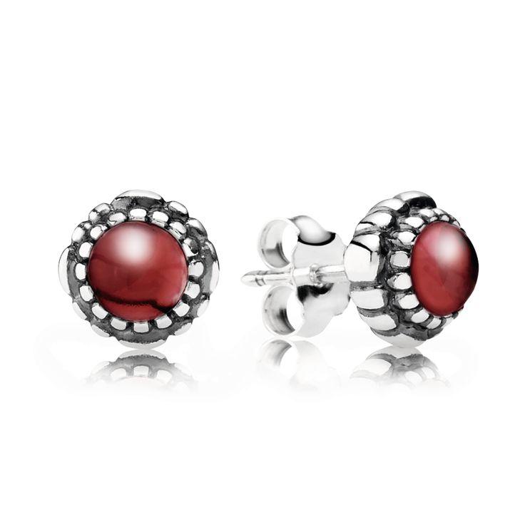 IMI | PANDORA | Garnet January Birthstone Earrings - PANDORA