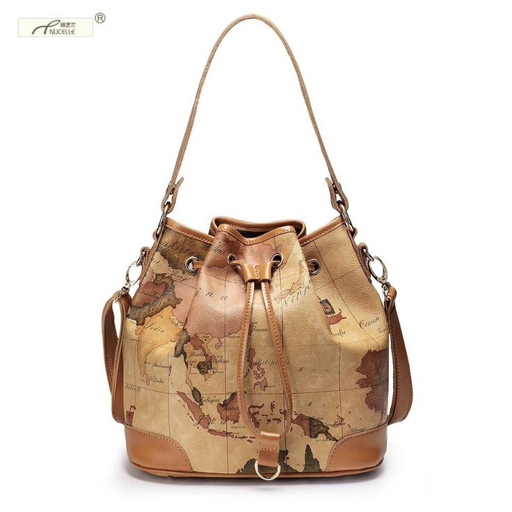 Nucelle brand design fashion travel world map women shoulder bag pvc nucelle brand design fashion travel world map women shoulder bag pvc genuine leather crossbody bucket bags gift for girl nucelle women bags pinterest gumiabroncs Images