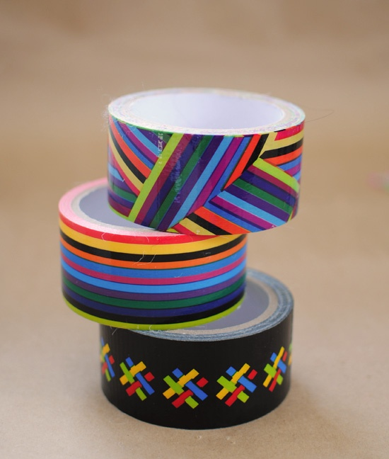 Rainbow patterned duct tape. use this to wrap a plain package and it's instantly cute! I want this!!!