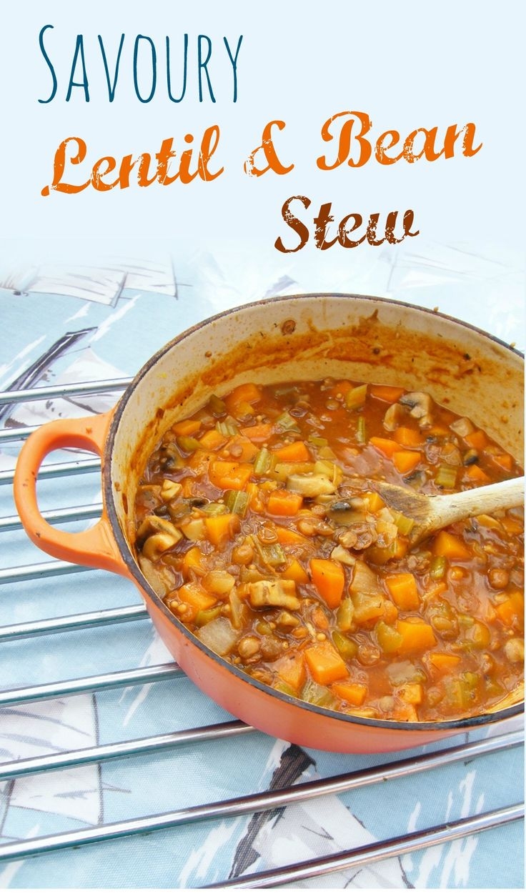 Savoury Lentil and Bean Stew. A comforting stew with a rich gravy. A frugal family meal. #vegan #vegetarian #winter