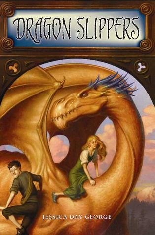 Dragon Slippers (Dragon Slippers, #1) by Jessica Day George.  Many stories tell of damsels in distress, who are rescued from the clutches of fire-breathing dragons by knights in shining armor, and swept off to live happily ever after. Unfortunately, this is not one of those stories.