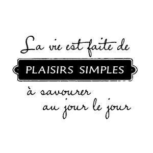 Tampon bois - Plaisirs simples - 4,6 x 6,6 cm