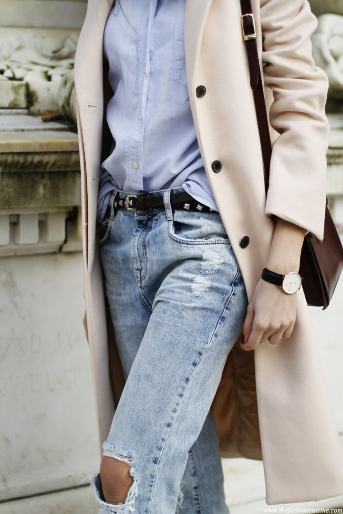 Distressed denim and neutral shades.